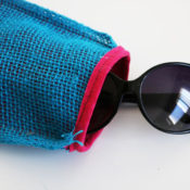 finished burlap sunglasses case