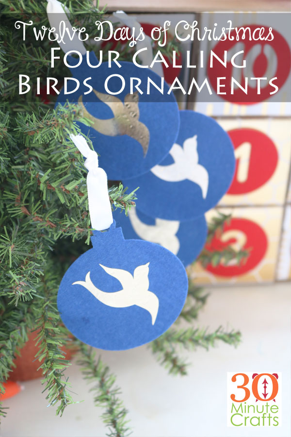 Four Calling Birds Christmas Ornaments
