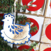 finished french hen ornament
