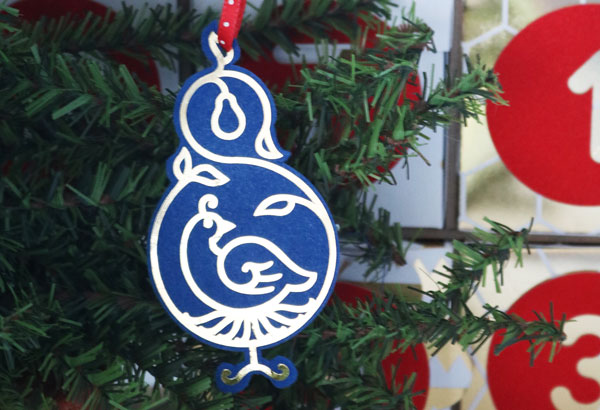 finished partridge in a pear tree ornament made on the Cricut