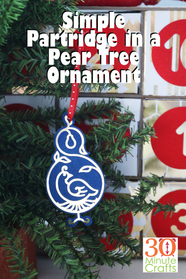 simple partridge in a Pear Tree ornament for the 12 Days of Christmas