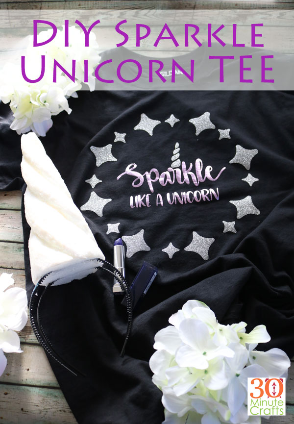 DIY Sparkle Unicorn Tee with extra glitter sparkles at 30 Minute Crafts .com