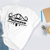 Crown scroll SVG on a white t shirt with the word Princess