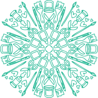 kaleidoscope design made from crafting tool illustrations