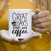 Great Days start with Coffee FREE SVG file